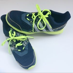 Adidas Boys Blue and Neon Green Sneakers Size 5